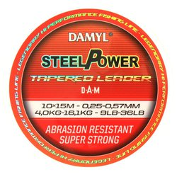 Шок лидер конусный DAM DAMYL® STEELPOWER® Tapered Leader 0.22-0.57mm / 7-36lb