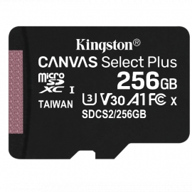 Карта памяти Kingston Canvas Select Plus microSDXC 256Gb UHS-I U3 A1 + SD адаптер (SDCS2/256GB)